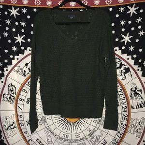 Dark Green V-Neck American Eagle Sweater